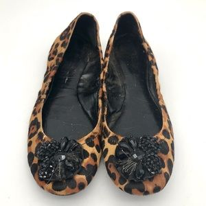 Jessica Simpson Leopard Print Cowhide Ballet Flats